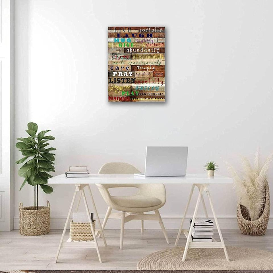 <p>This <span>Sweety Decor Motivational Quote Wall Art</span> ($13, originally $16) will cheer you up every day. Place it in your home office.</p>