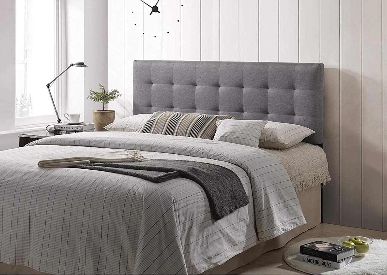 "<p>Spruce up your bedroom with this <a href=""https://www.popsugar.com/buy/Poly-amp-Bark-Guilia-Square-Stitched-Headboard-539088?p_name=Poly%20%26amp%3B%20Bark%20Guilia%20Square-Stitched%20Headboard&retailer=amazon.com&pid=539088&price=70&evar1=casa%3Aus&evar9=46356293&evar98=https%3A%2F%2Fwww.popsugar.com%2Fhome%2Fphoto-gallery%2F46356293%2Fimage%2F47093721%2FPoly-Bark-Guilia-Square-Stitched-Headboard&list1=amazon%2Cfurniture%2Cbedrooms%2Cshoppping%2Chome%20shopping&prop13=api&pdata=1"" rel=""nofollow"" data-shoppable-link=""1"" target=""_blank"" class=""ga-track"" data-ga-category=""Related"" data-ga-label=""https://www.amazon.com/POLY-BARK-EM-297-GRY-Square-Stitched-Headboard/dp/B07662LDR4/ref=sr_1_4?keywords=poly%2B%26%2Bbark%2Bbedroom%2Bfurniture&amp;qid=1578690934&amp;sr=8-4&amp;th=1"" data-ga-action=""In-Line Links"">Poly &amp; Bark Guilia Square-Stitched Headboard</a> ($70).</p>"