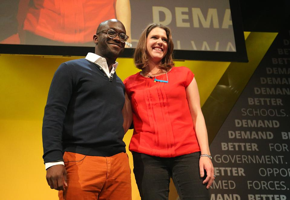 Former Tory minister Sam Gyimah, who has defected to the Liberal Democrats, with leader Jo Swinson during the Liberal Democrats autumn conference at the Bournemouth International Centre in Bournemouth.