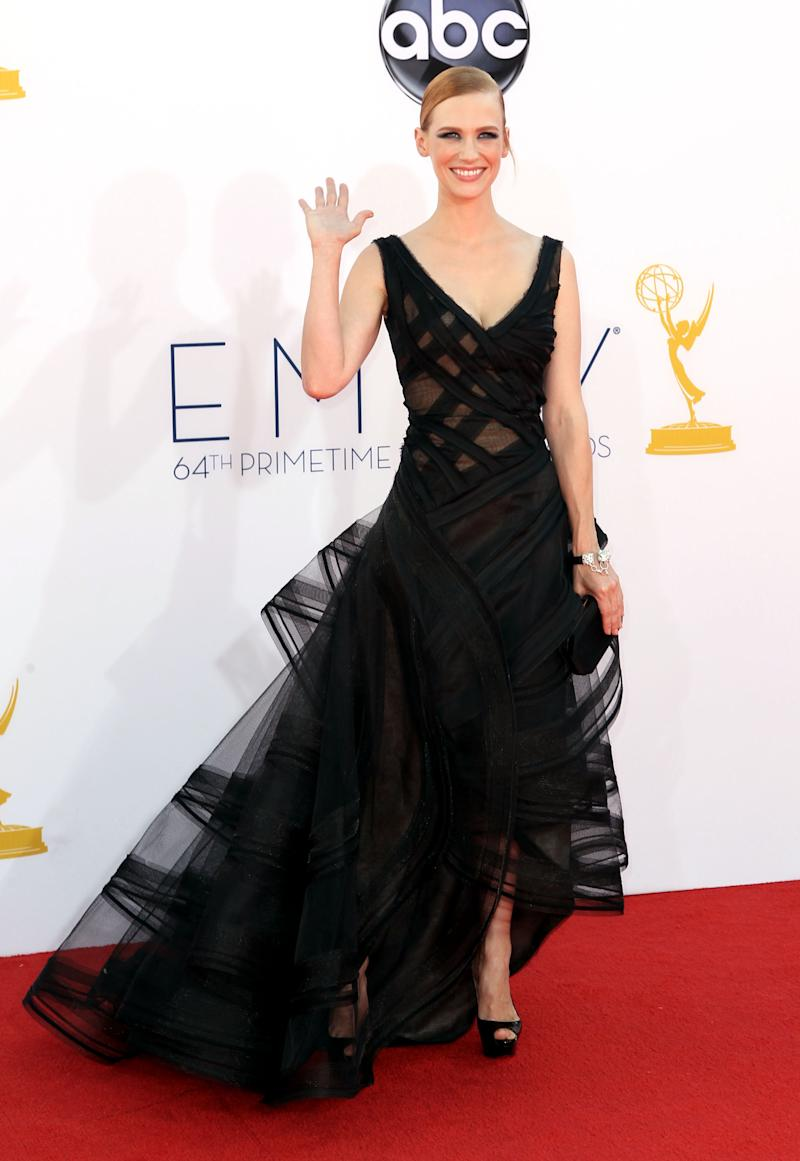 January Jones arrives at the 64th Primetime Emmy Awards at the Nokia Theatre on Sunday, Sept. 23, 2012, in Los Angeles. (Photo by Matt Sayles/Invision/AP)