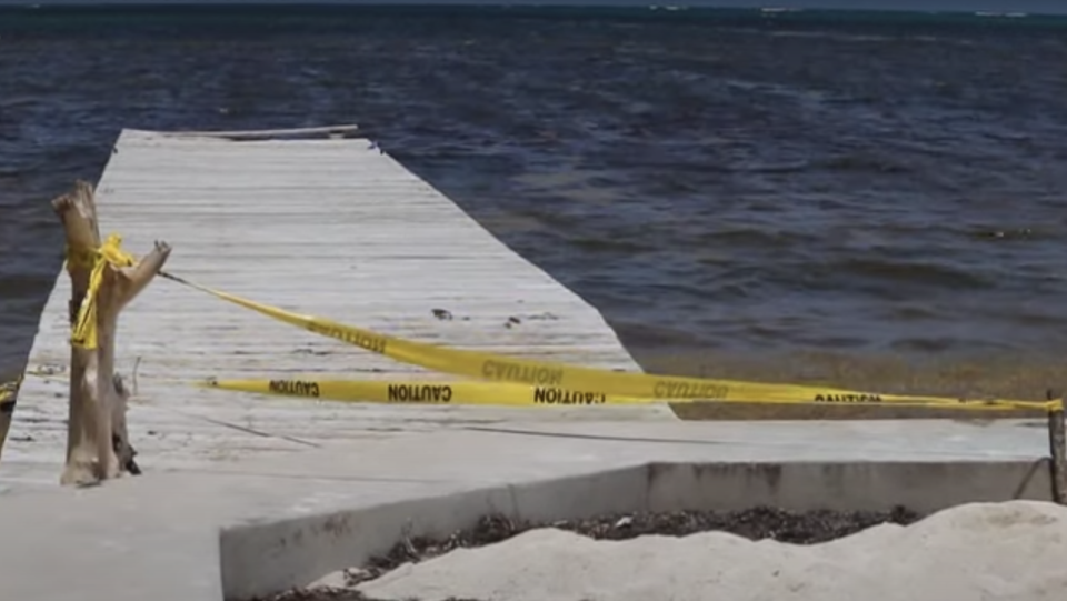 The cop was found floating in the water after falling from a pier. Source: Channel 5 Belize