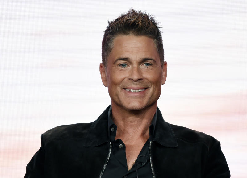 "Rob Lowe, a cast member in the upcoming television series ""9-1-1: Lone Star,"" takes part in a panel discussion during the 2020 FOX Television Critics Association Winter Press Tour, Tuesday, Jan. 7, 2020, in Pasadena, Calif. (AP Photo/Chris Pizzello)"