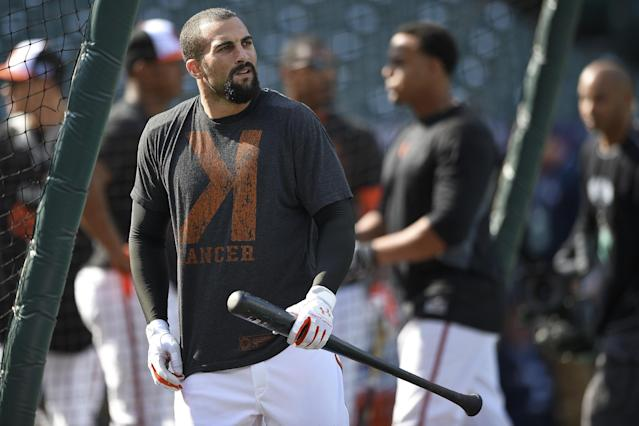 Baltimore Orioles right fielder Nick Markakis (21) looks around the ball park before batting practice at game one of the AL Division Series against the Detroit Tigers, Thursday, Oct. 2, 2014, in Baltimore. (AP Photo/Nick Wass)