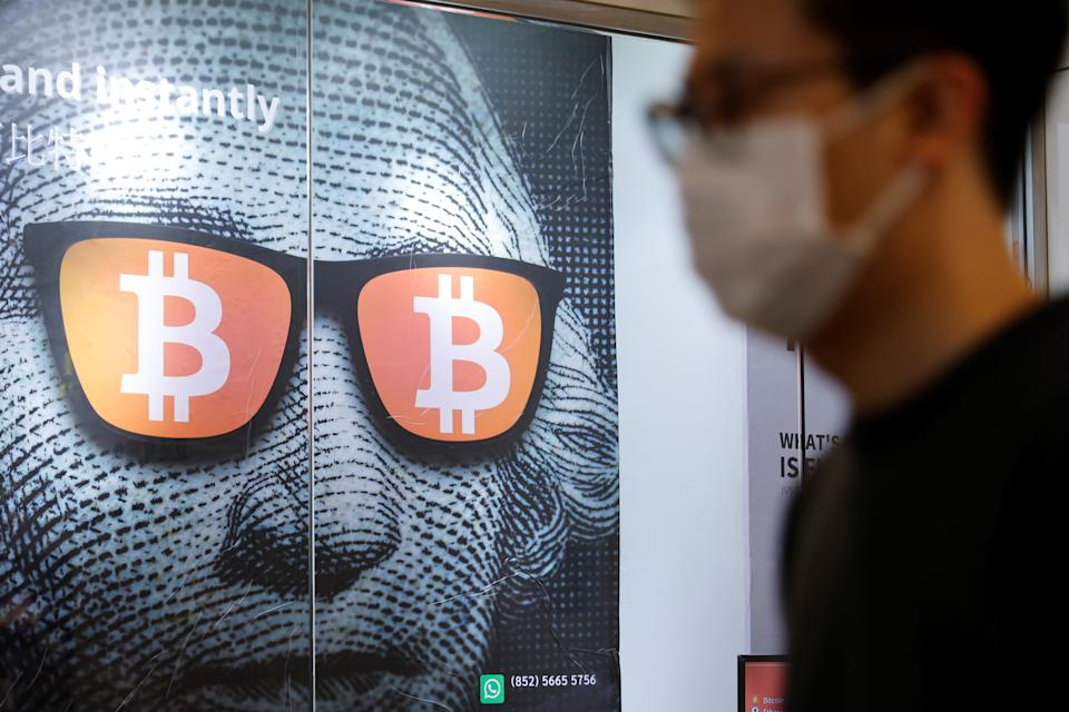 An advertisement for Bitcoin and cryptocurrencies. Photo: Reuters
