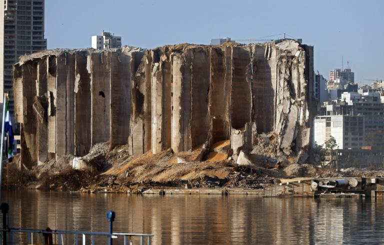 The destroyed silo at Beirut's port following the August 4 massive chemical explosion