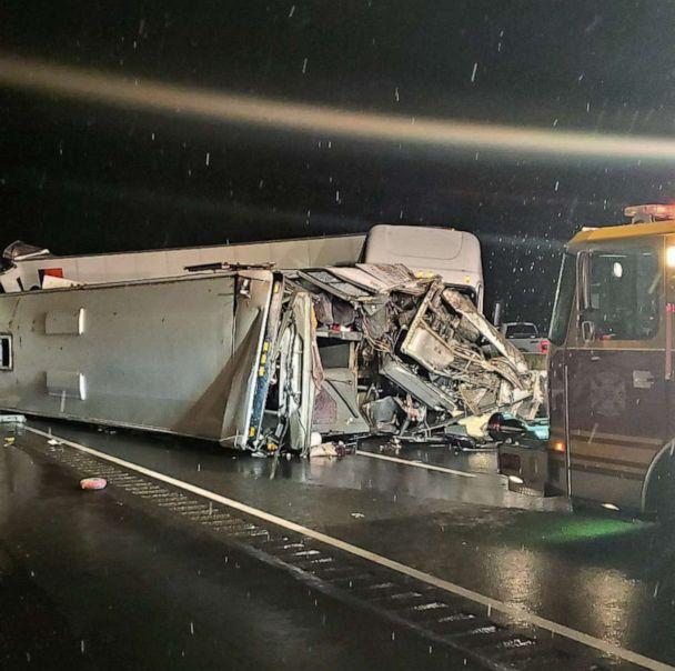 PHOTO: Emergency crews respond to a fatal crash on the Pennsylvania Turnpike in Mount Pleasant Township, Jan. 5, 2020. (George Bady)
