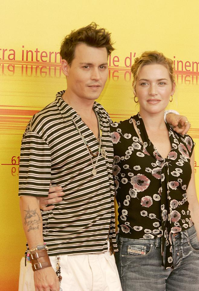 """<a href=""""http://movies.yahoo.com/movie/contributor/1800019485"""">Johnny Depp</a> and <a href=""""http://movies.yahoo.com/movie/contributor/1800019032"""">Kate Winslet</a> at the Venice Film Festival photocall for <a href=""""http://movies.yahoo.com/movie/1808413978/info"""">Finding Neverland</a> - 09/04/2004"""
