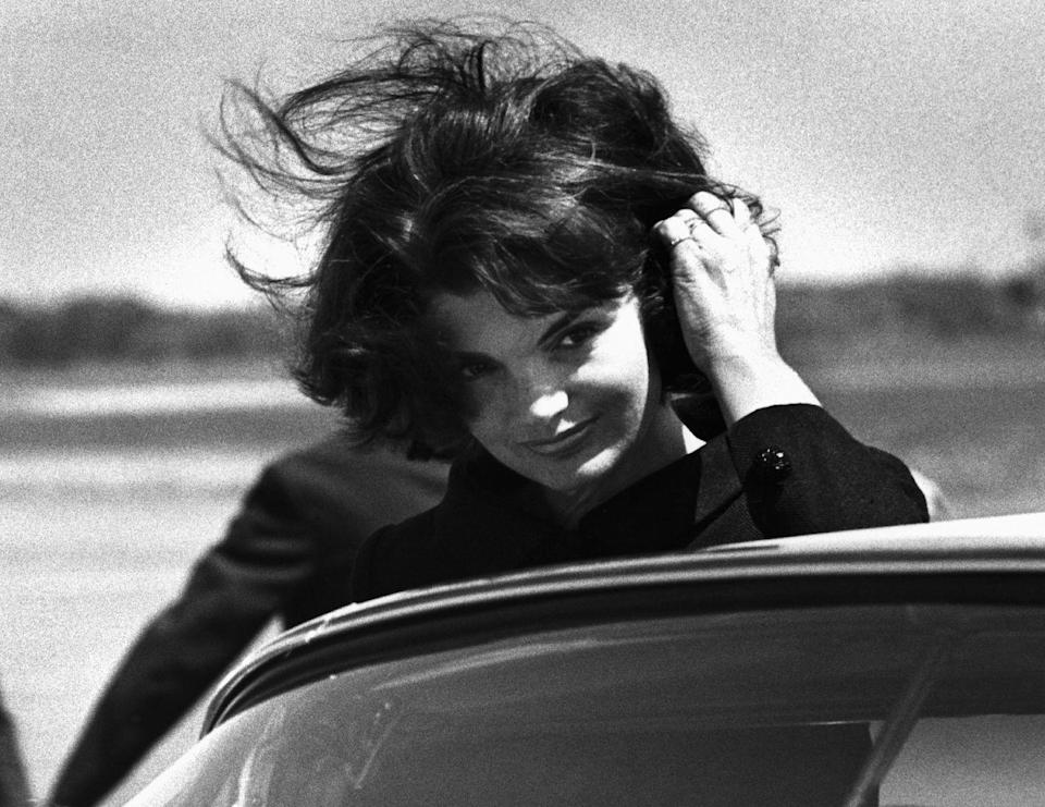<p>The former First Lady appeared in a television special about her late husband on what would have been his 47th birthday. Here she arrives in Hyannis Port ahead of her appearance. </p>