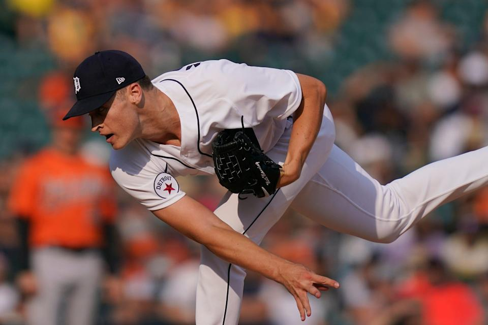 Detroit Tigers starting pitcher Matt Manning throws during the first inning of a baseball game against the Baltimore Orioles, Saturday, July 31, 2021, in Detroit.