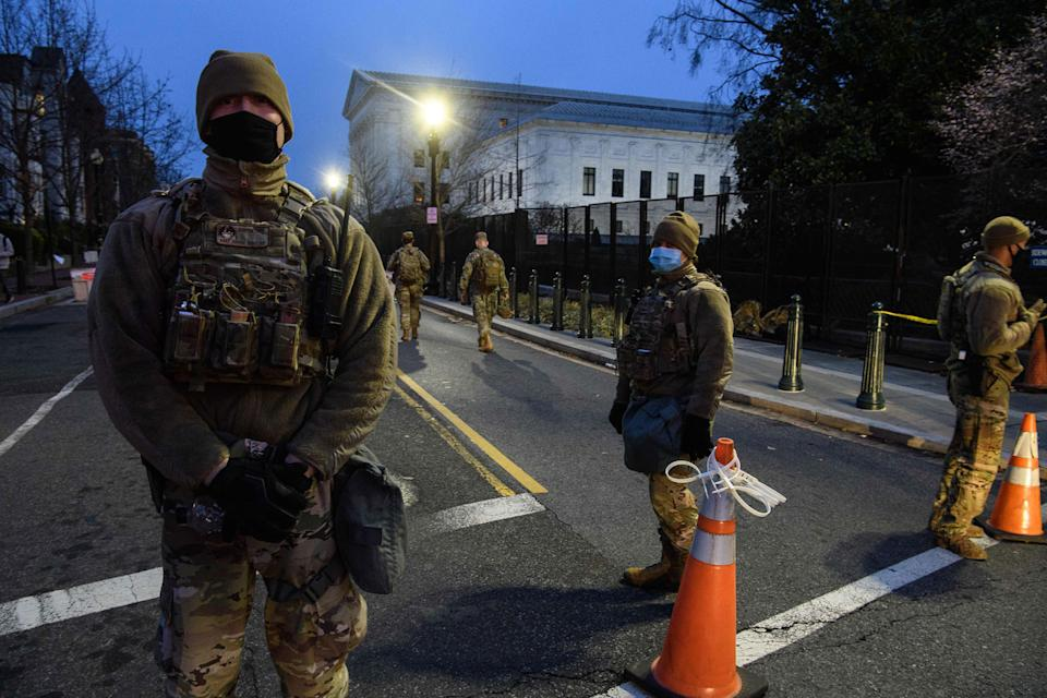 US National Guard officers near the US Capitol in Washington DC on January 16, 2021.
