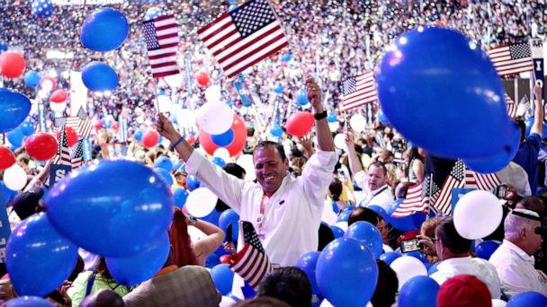 PHOTO: FILE PHOTO: Delegates celebrate after Democratic presidential candidate Hillary Clinton delivered a speech at the Democratic National Convention, July 28, 2016, in Philadelphia. (Jessica Kourkounis/Getty Images)