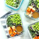 <p>Prep four days' worth of high-protein vegan lunches using just four easy ingredients from your local specialty grocery store, including a veggie-heavy salad mix as a base. Because this salad mix is hearty, you can dress these bowls up to 24 hours before serving to allow the flavors in this healthy chopped salad to marry. If you can't find a hearty mix, go with broccoli slaw or shredded Brussels sprouts.</p>