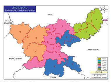 Parliamentary constituency map of Jharkhand. Image courtesy Election Commission of India