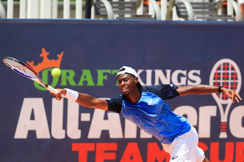 ATLANTA, GA - JULY 5: Christopher Eubanks of the United States returns the ball against John Isner of the United States during the final day of the DraftKings All-American Team Cup on July 5, 2020 in Atlanta, Georgia. (Photo by Carmen Mandato/Getty Images)