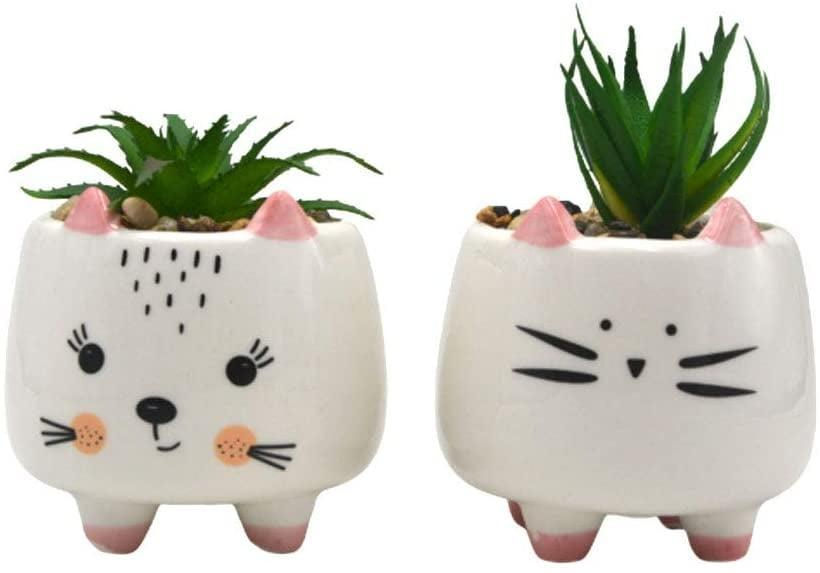 <p>How adorable are these <span>Pack of 2 Cute Cat Potted Faux Succulents</span> ($15)?! </p>