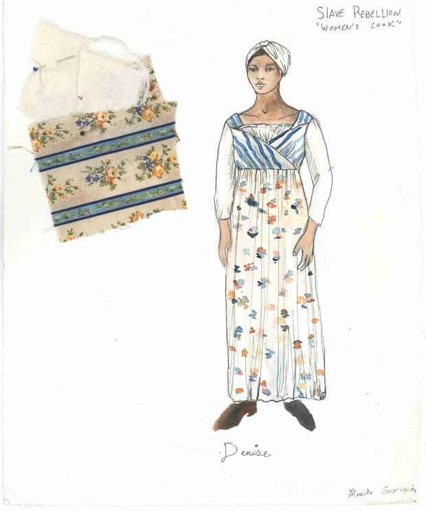 Sketches of women's costumes by Alison L. Parker for the Slave Rebellion Reenactment. Photo: Courtesy of the Slave Rebellion Reenactment