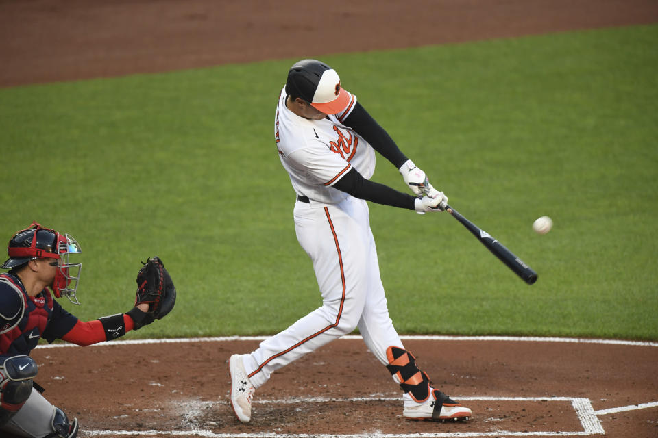 Baltimore Orioles Ryan Mountcastle hits a solo home run against the Boston Red Sox during the first inning of baseball game Monday, May 10, 2021, in Baltimore. (AP Photo/Terrance Williams)