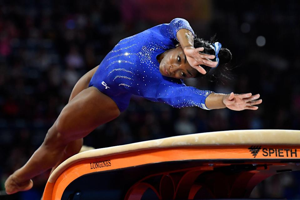 Simone Biles returns to competition Saturday for the first time since the 2019 world championships.