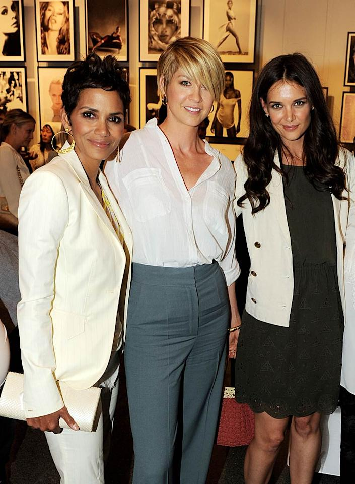 "Three actress who know a thing or two about the subject of beauty -- Halle Berry, Jenna Elfman, and Katie Holmes -- attended opening night of the ""Beauty Culture"" exhibit at the Annenberg Space for Photography in Century City, California, on Thursday. The show examines photography's role in what we think is beautiful. Kevin Winter/<a href=""http://www.gettyimages.com/"" target=""new"">GettyImages.com</a> - May 19, 2011"