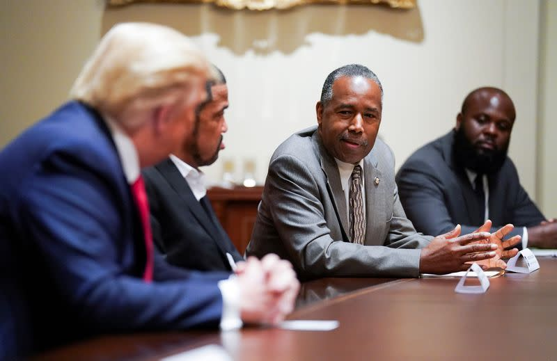 FILE PHOTO: U.S. President Trump holds a meeting with black supporters in the Cabinet Room at the White House in Washington