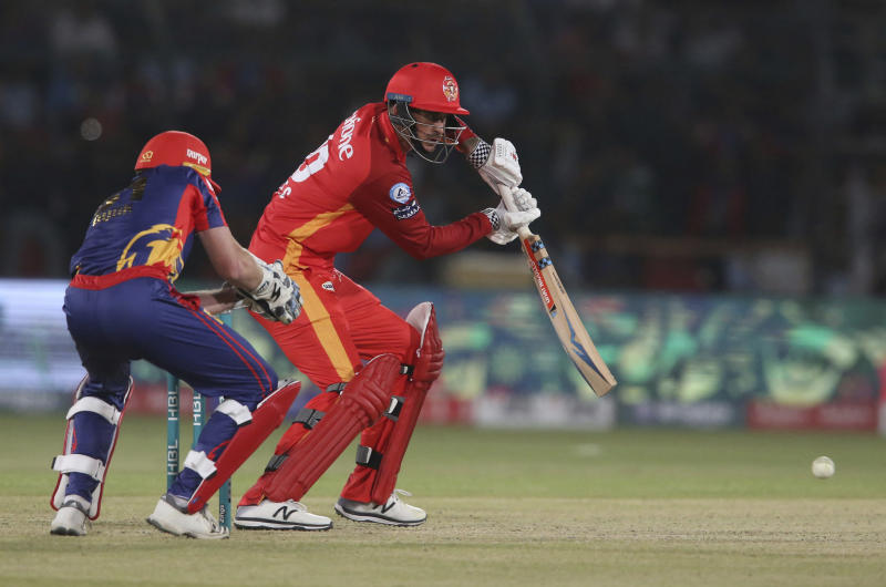 Alex Hales of Islamabad United hits during a match against Karachi Kings, in the Pakistan Super League playoff at National Stadium in Karachi, Pakistan, Thursday, March 14, 2019. (AP Photo/Fareed Khan)