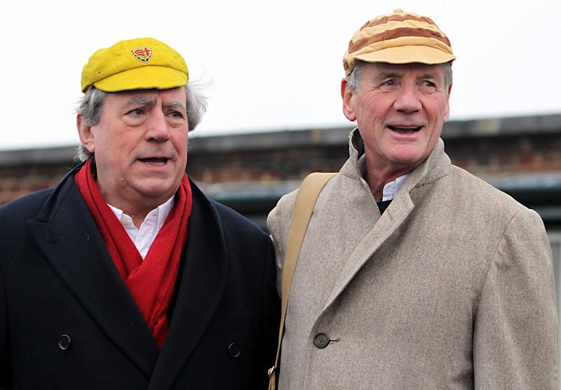 Terry Jones (left) and Michael Palin (right) at the first Ripping Yarns hopathon to mark the DVD release of Ripping Yarns The Complete Series. (Photo by Sean Dempsey/PA Images via Getty Images)