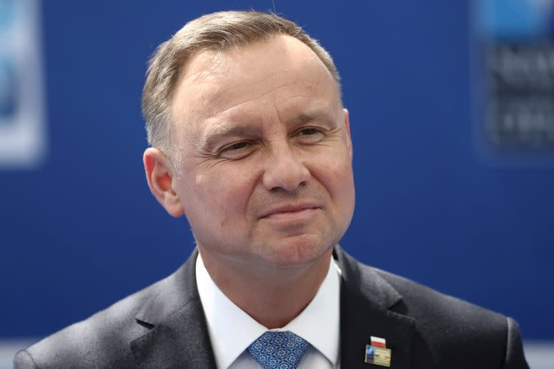FILE PHOTO: Poland's President Andrzej Duda arrives for a NATO summit in Brussels