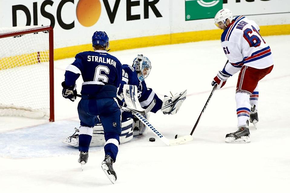 Rick Nash (R) of the New York Rangers takes a shot against Andrei Vasilevskiy of the Tampa Bay Lightning, during Game Six of their NHL Eastern Conference finals, at Amalie Arena in Tampa, Florida, on May 26, 2015 (AFP Photo/Brian Blanco)