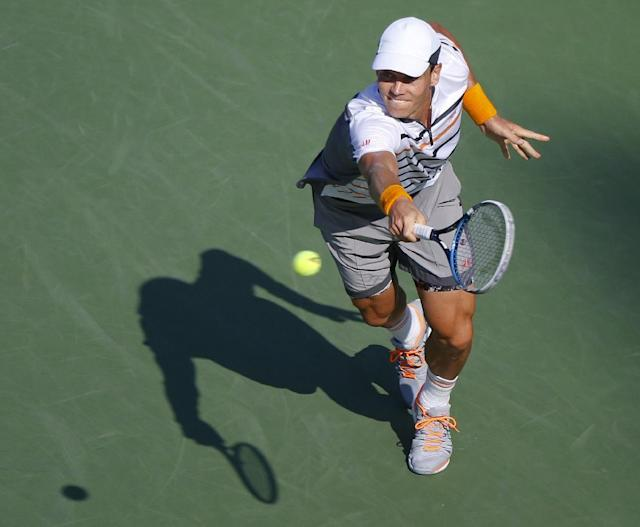 Tomas Berdych, of the Czech Republic, returns a shot against Marin Cilic, of Croatia, during the quarterfinals of the 2014 U.S. Open tennis tournament, Thursday, Sept. 4, 2014, in New York. (AP Photo/Seth Wenig)