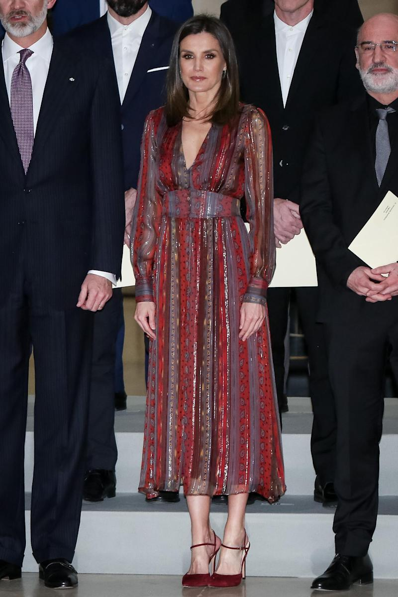 Queen Letizia in a red maxi dress from Asos (Getty Images)