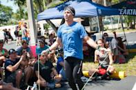 """<p>The CrossFit Open and Games don't have strict <a href=""""https://s3.amazonaws.com/crossfitpubliccontent/CrossFitGames_Rulebook.pdf"""" rel=""""nofollow noopener"""" target=""""_blank"""" data-ylk=""""slk:wardrobe requirements"""" class=""""link rapid-noclick-resp"""">wardrobe requirements</a> for athletes. Just make sure you're dressed for success in proper workout clothes and sneakers and that your attire doesn't interfere with the judges determining whether you executed the movement correctly. </p>"""