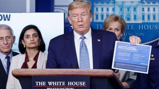 PHOTO: President Donald Trump, with members of the coronavirus task force, delivers remarks during a press briefing at the White House in Washington, March 16, 2020. (Shawn Thew/EPA via Shutterstock)