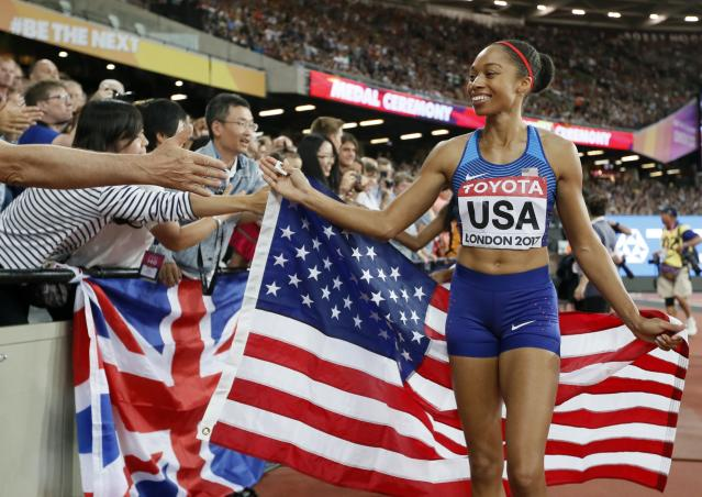 "<a class=""link rapid-noclick-resp"" href=""/olympics/rio-2016/a/1127176/"" data-ylk=""slk:Allyson Felix"">Allyson Felix</a> is the most decorated U.S. woman in track and field. (AP Photo/Kirsty Wigglesworth)"