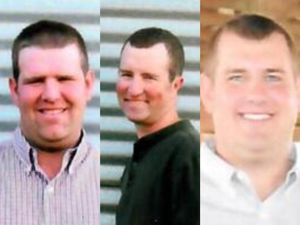 Gary Wuebker, 37; Brad Wuebker, 35, and Todd Wuebker, 31, died in manure pit at family farm.  (Hogenkamp Funeral Homes)