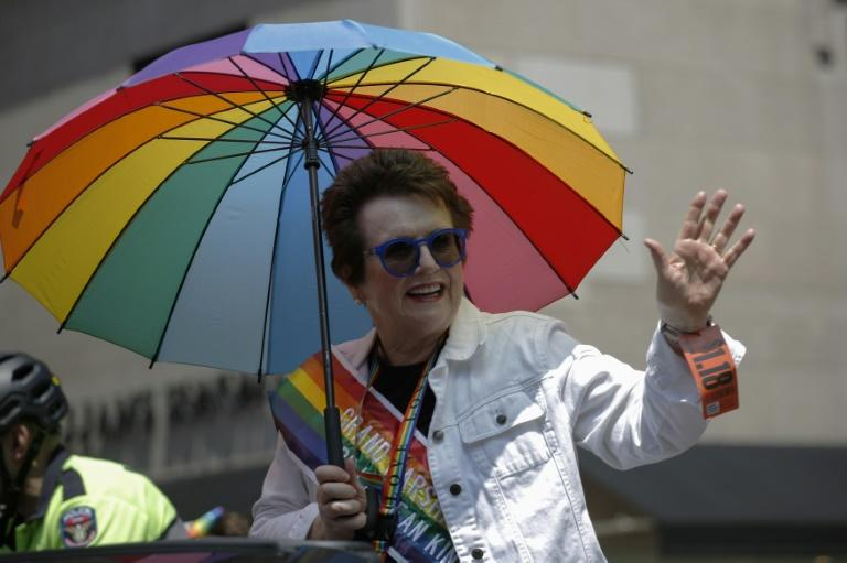 The grand marshal of this year's Gay Pride parade in New York was tennis legend Billie Jean King, seen here holding a rainbow-colored parasol