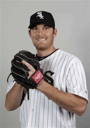 FILE - This 2012 file photo shows Philip Humber of the Chicago White Sox baseball club. Humber has pitched eight perfect innings against the Seattle Mariners on Saturday, April 21, 2012. (AP Photo/Jae C. Hong, File)