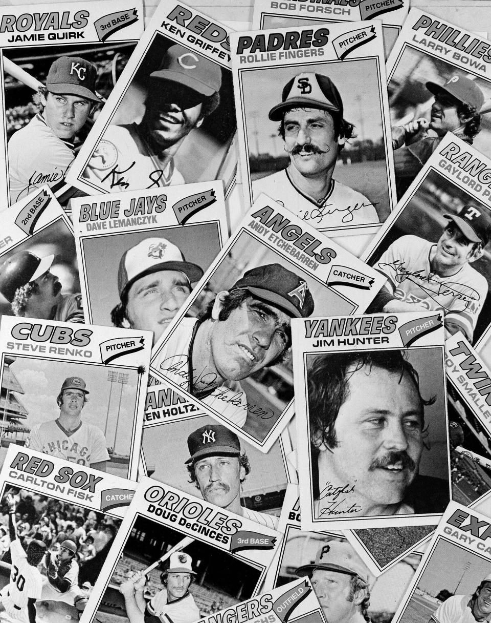 FILE - This April 6, 1977, file photo shows a collection of baseball cards. (AP Photo/File)