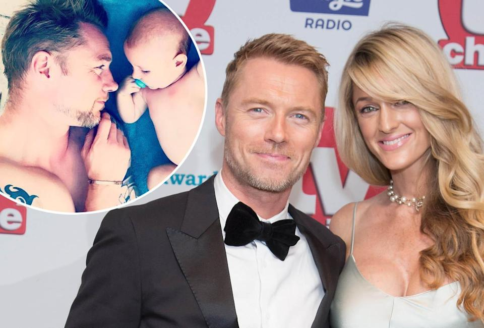 Ronan Keating, Storm Keating, at the 2017 TV Choice Awards and inset, Ronan with Cooper on Instagram (WENN)