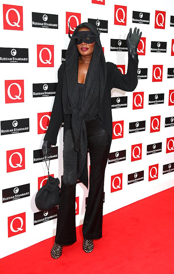 "Warhol muse/dance diva Grace Jones puzzled the masses in a mysterious black mask at the 2008 Q Awards in London. Gareth Cattermole/<a href=""http://www.gettyimages.com/"" target=""new"">GettyImages.com</a> - October 6, 2008"