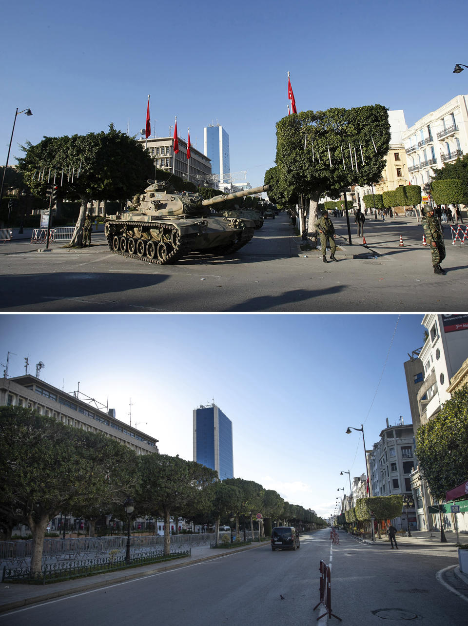 A combo image showing a tank guarding the center of Tunis, Sunday, Jan. 16. 2011, top, and an empty street near Tunis' landmark Avenue Habib Bourgiba, on the tenth anniversary of the uprising, due to a national lockdown after a surge in COVID-19 cases, in Tunis, Thursday, Jan. 14, 2021. Tunisia is commemorating the 10th anniversary since the flight into exile of its iron-fisted leader, Zine El Abidine Ben Ali, pushed from power in a popular revolt that foreshadowed the so-called Arab Spring. But there will be no festive celebrations Thursday marking the revolution in this North African nation, ordered into lockdown to contain the coronavirus. (AP Photo/Christophe Ena, Mosa'ab Elshamy)