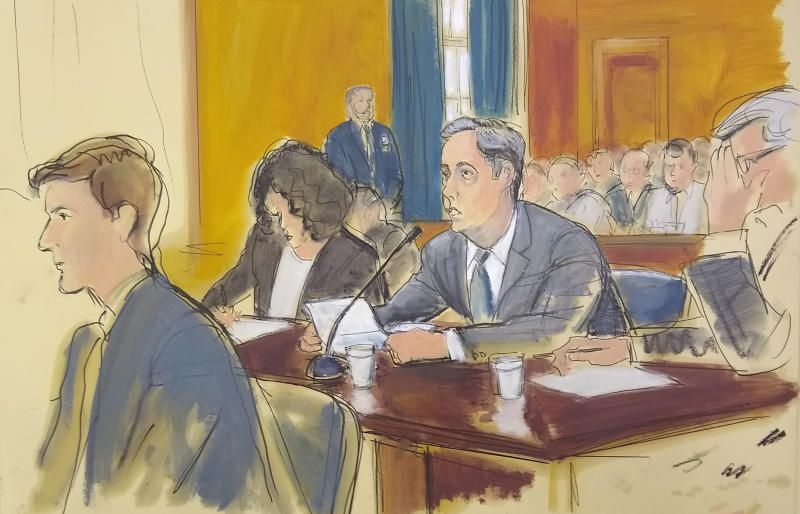 In this courtroom sketch, Michael Cohen (center) reads a statement in federal court in New York on Nov. 29, 2018. (ASSOCIATED PRESS)