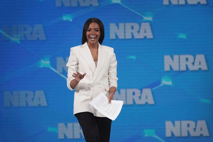 Activist Candace Owens speaks to guests during the NRA-ILA Leadership Forum at the 148th NRA Annual Meetings & Exhibits on April 26, 2019 in Indianapolis, Indiana. (Photo by Scott Olson/Getty Images)