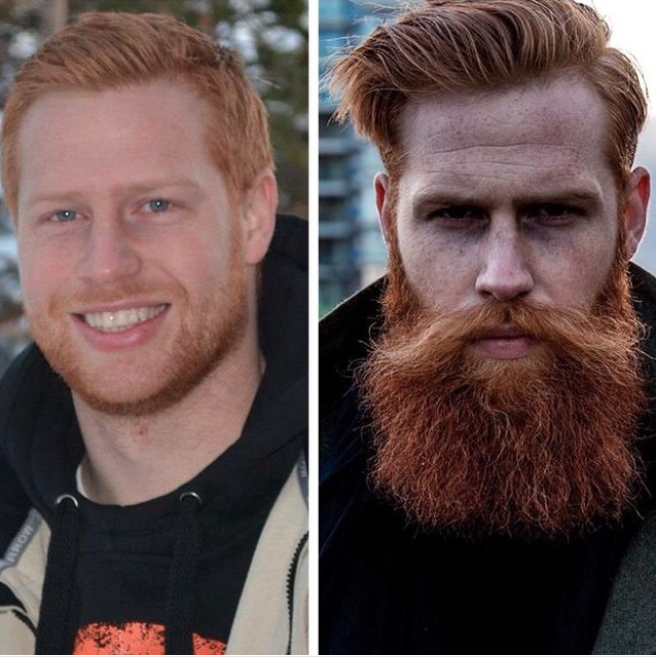 Here he is before and after he grew a beard. Photo: Instagram/gwilymcpugh