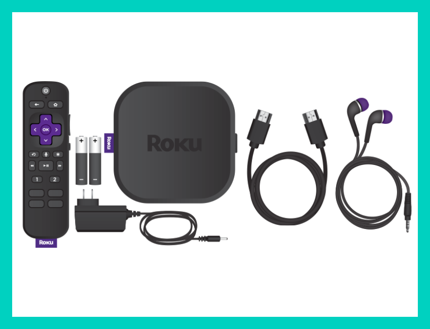 What's in the box?! The Roku Ultra, Roku voice remote with two AA batteries, HDMI cable, power supply and a pair of earbuds for private listening. (Photo: Amazon)