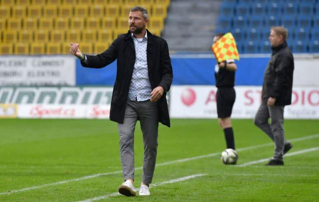 Bohemians Prague coach Martin Hasek reacts during their Czech top-tier soccer competition match in Teplice