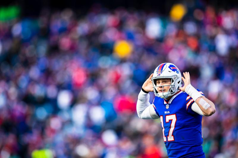 ORCHARD PARK, NY - DECEMBER 30: Josh Allen #17 of the Buffalo Bills gestures to the cheering crowd during the fourth quarter against the Miami Dolphins at New Era Field on December 30, 2018 in Orchard Park, New York. Buffalo defeats Miami 42-17. (Photo by Brett Carlsen/Getty Images)