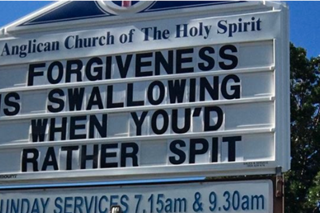 "<p>We guess it's one way to get people to pay attention to a religious message.</p> <p>An Australian church has raised eyebrows for its dirty-sounding sign, which reads ""FORGIVENESS IS SWALLOWING WHEN YOU'D RATHER SPIT."" Nope, not making it up. </p> <div><p>SEE ALSO: <a href=""https://mashable.com/2018/06/05/facebook-lip-sync-live/?utm_campaign=Mash-BD-Synd-Yahoo-Watercooler-Full&utm_cid=Mash-BD-Synd-Yahoo-Watercooler-Full"" rel=""nofollow noopener"" target=""_blank"" data-ylk=""slk:Facebook rolls out lip-syncing feature that's a lot like Musical.ly"" class=""link rapid-noclick-resp"">Facebook rolls out lip-syncing feature that's a lot like Musical.ly</a></p></div> <p>Here is the sign, as it was displayed in front of the Anglican Church of the Holy Spirit in Surfers Paradise, photographed by local politician John-Paul Langbroek.</p> <div> <div><blockquote><div>  <p><a href=""https://www.instagram.com/p/Bjn-CzzhYwY/"" rel=""nofollow noopener"" target=""_blank"" data-ylk=""slk:This will get the punters in... 🤔 🤔 #wtaf ...that's a different #ChurchSign #surfersparadiseelectorate #isleofcapri #pleaseexplain 'Mummy what does that mean ????' #dentist #suctionplease #thefabulousgoldie"" class=""link rapid-noclick-resp"">This will get the punters in... 🤔 🤔 #wtaf ...that's a different #ChurchSign #surfersparadiseelectorate #isleofcapri #pleaseexplain 'Mummy what does that mean ????' #dentist #suctionplease #thefabulousgoldie</a></p> <p>A post shared by <a href=""https://www.instagram.com/jplangbroek/"" rel=""nofollow noopener"" target=""_blank"" data-ylk=""slk:John-Paul Langbroek"" class=""link rapid-noclick-resp""> John-Paul Langbroek</a> (@jplangbroek) on Jun 4, 2018 at 6:27pm PDT</p> </div></blockquote></div> </div> <p>Despite the rather, erm, loaded sign, a spokesperson for the church explained the meaning of the sign to the <a href=""https://www.couriermail.com.au/news/national/surfers-paradise-anglican-churchs-raunchy-road-sign-has-jaws-dropping/news-story/356c11da1d7bd90c3d4ff10fe32dab4c?nk=7222790197d366038f43736035f4c2fa-1528169474"" rel=""nofollow noopener"" target=""_blank"" data-ylk=""slk:Courier-Mail"" class=""link rapid-noclick-resp""><em>Courier-Mail</em></a>.</p> <p>""You don't open your mouth and yell at somebody, you close your mouth and swallow,"" they told the newspaper. ""If you want to say something, keep your mouth closed for a bit. Swallow it, don't spit it out."" </p> <p>Who knew, hey. Unsurprisingly, the sign <a href=""https://www.couriermail.com.au/news/qld/gold-coast-church-removes-x-rated-sign-ng-f10cc4ca910169ab5bfb0686923c93d9"" rel=""nofollow noopener"" target=""_blank"" data-ylk=""slk:was reportedly blank"" class=""link rapid-noclick-resp"">was reportedly blank</a> as of Wednesday morning. </p> <p>It's not the first time the same message has been used for a church sign for the rest of us to misconstrue, with a Florida church also creating some confusion last November.</p> <p>Might be time to give this message a rest.</p> <div><div><blockquote> <p>Edgewater Church Changes Misinterpreted Sign <a href=""https://t.co/P4UEEi5tMC"" rel=""nofollow noopener"" target=""_blank"" data-ylk=""slk:https://t.co/P4UEEi5tMC"" class=""link rapid-noclick-resp"">https://t.co/P4UEEi5tMC</a></p> <p>— 101one, WJRR (@1011wjrr) <a href=""https://twitter.com/1011wjrr/status/927527828706463745?ref_src=twsrc%5Etfw"" rel=""nofollow noopener"" target=""_blank"" data-ylk=""slk:November 6, 2017"" class=""link rapid-noclick-resp"">November 6, 2017</a></p> </blockquote></div></div> <div> <h2><a href=""https://mashable.com/2018/06/04/michael-phelps-olympic-diet/?utm_campaign=Mash-BD-Synd-Yahoo-Watercooler-Full&utm_cid=Mash-BD-Synd-Yahoo-Watercooler-Full"" rel=""nofollow noopener"" target=""_blank"" data-ylk=""slk:WATCH: This is what Michael Phelps' diet was like during training"" class=""link rapid-noclick-resp"">WATCH: This is what Michael Phelps' diet was like during training</a></h2> <div>  </div> </div>"