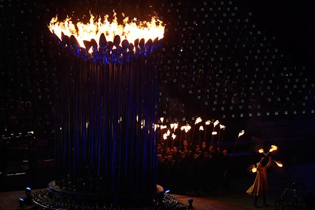LONDON, ENGLAND - SEPTEMBER 09: The Paralympic cauldron flame burns during the closing ceremony on day 11 of the London 2012 Paralympic Games at Olympic Stadium on September 9, 2012 in London, England. (Photo by Dennis Grombkowski/Getty Images)