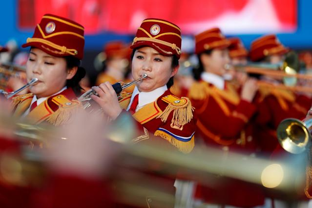 FILE PHOTO: A North Korean cheerleaders and members of an orchestra perform at the Gangneung Olympic Park, in Gangneung, South Korea, February 15, 2018. REUTERS/Damir Sagolj/File Photo