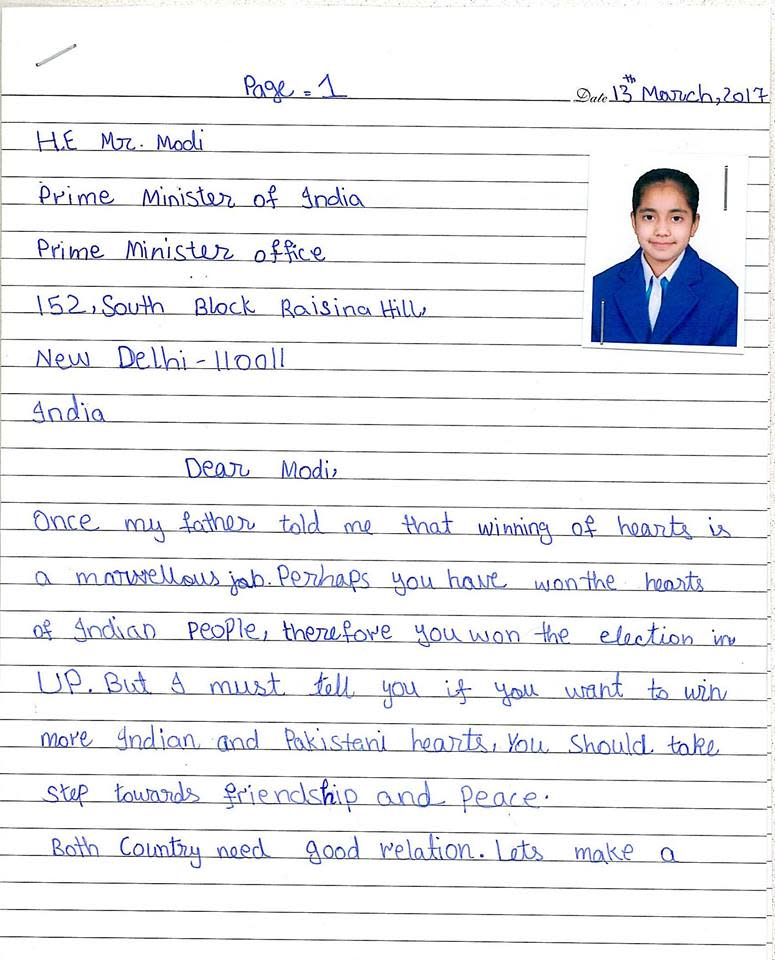 Pakistani girl writes letter to PM Modi appealing for peace